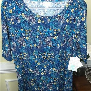 Lularoe Julia Dress 2x Blue with small Floral NWT